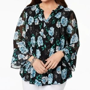Charter Club Bell-Sleeve Pintucked Tunic